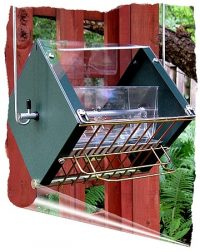 Roller Feeder 2 - Cardinal - Clear Green & Gold Squirrel Proof Bird Feeder
