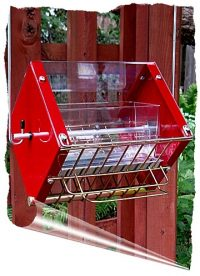 Roller Feeder 2 - Cardinal - Clear, Red & Gold Squirrel Proof Bird Feeder