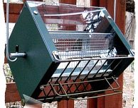 Roller Feeder 2 - Cardinal - 2 Tone Green - RedSq Squirrel Proof Bird Feeder
